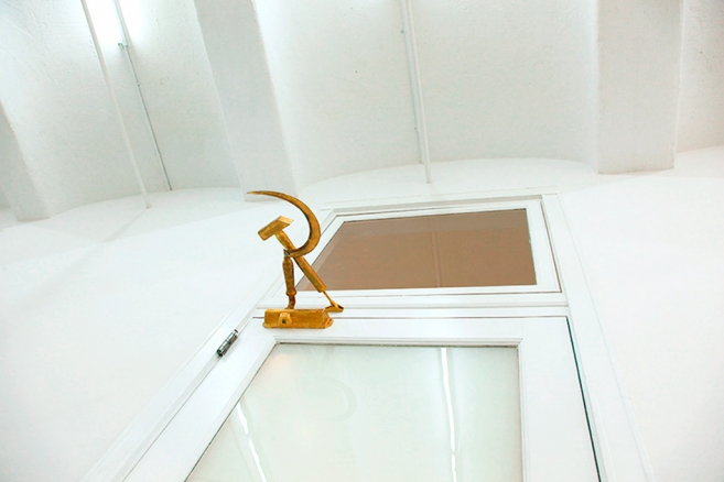 Door Closer (legacy), 2014 - 2015 / Gilded bronze, steel / 11 x 25.5  x 40.5 cm