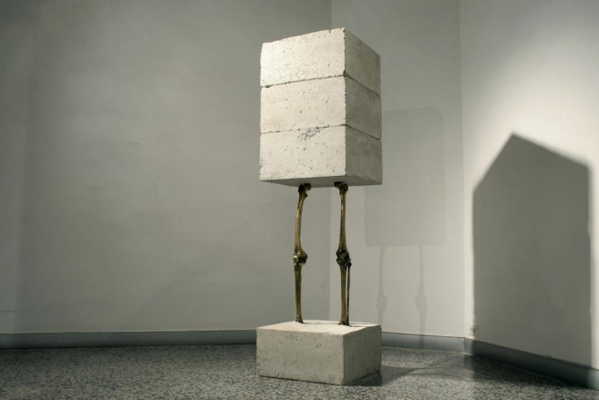 Self-portrait (each one of us), 2002-2008 / Concrete and cast bronze / 175 x 50 x 50 cm