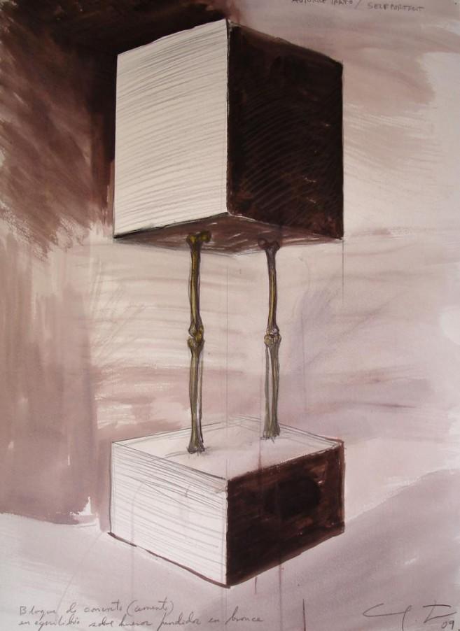 Autorretrato (cada uno de nosotros), 2009 / Acuarela y lápiz/Cartulina / 70 x 50 cm