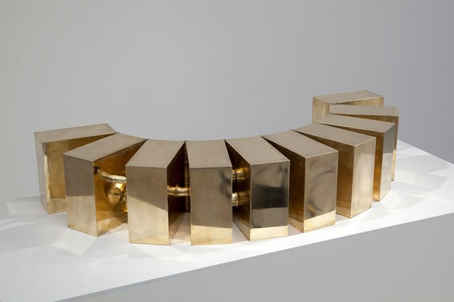 Beautiful People (after party), 2010 / Opened work, 10 casting bronze  blocks and hinges / 125 x 25 x 25 cm
