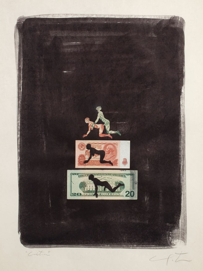 Coitus (dollar and ruble), 2010 / Mixed media on paper / 75,5 x 59 cm