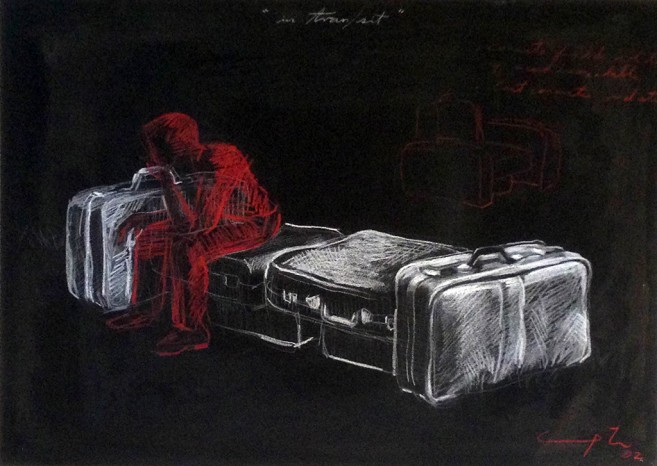 In tran/sit, 2002 / Mixed media on paper