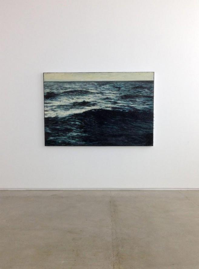 Isla (sin salida), 2013 / Óleo, anzuelos y puntillas sobre panel de lienzo y plywood / 133 x 200 x 10 cm