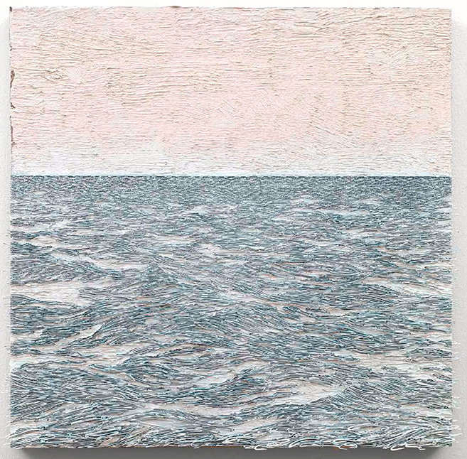 Isla (blanco sobre blanco), 2015 / Oil, nails and fishhooks on linen panel on plywood / 78.5 x 82 cm