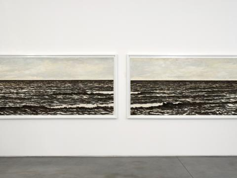 Isla (in memoriam) diptych, 2007 / Oil, fish-hooks, nails and artist's blood on panel of plywood / 136.5 x 258.5 x 7 cm each