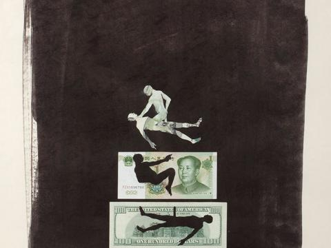Coitus (dollar and yuan), 2010 / Mixed media on paper / 75,5 x 59 cm