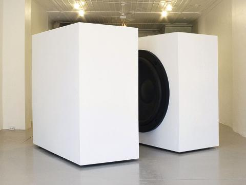 Impotence, 2004 / Wood, metal, speakers, and sound. / 250 x 320 x 250 cm