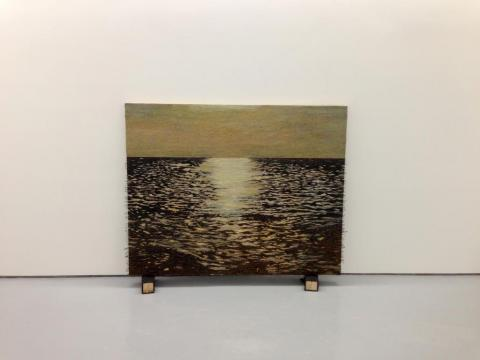 Isla (el ocaso), 2011-2012 / Oil, fish-hooks, nails and encaustic on panel of canvas and plywood / 119,5 x 150 x 8 cm