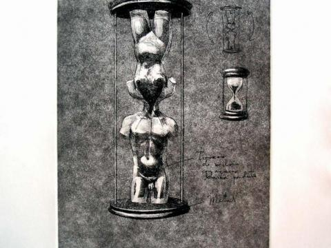 Permanencia del deseo, 2005 / Dry point and etching on cardboard / 51 x 40,5 cm