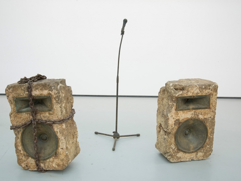 Old speech, 2010-2011 / Stone, bronze, iron, photographic documentation / Variable dimensions
