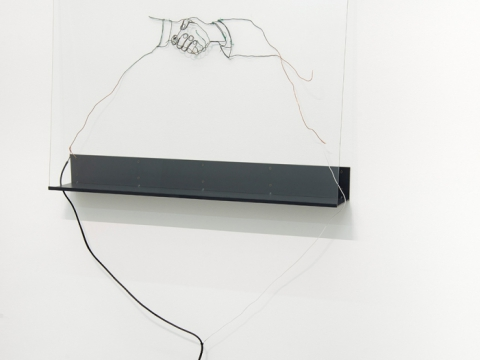 Diplomacy Lesson (handshake), 2015 / Electrical cable, copper wire, plastic zip ties, glass, steel shelf / Variable dimensions