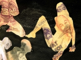 Rate (fucking money) , 2015 (detalle) / Técnica mixta y figuras caladas en papel moneda de diferentes paises /Cartulina / 126.5 x 70 cm (izquierdo), 126.5 x 126.5 cm (el del centro), 126.5 x 70 cm (derecho)