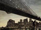 American Appeal (bridge), 2008 / Óleo, anzuelos y puntillas sobre panel de lienzo y plywood / 200 x 300 x 10 cm
