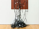 Consensus (collective feeling) detail, 2012-2013 / Stethoscopes and nickel-plated copper devices on wooden base / 159 x 86 x 17 cm