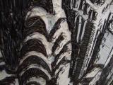 American Appeal (aerial), 2008 / Óleo, anzuelos, puntillas y cera sobre panel de lino y plywood / 200 x 200 x 10 cm