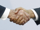Reference photo for the work   Diplomacy Lesson (handshake) 2015